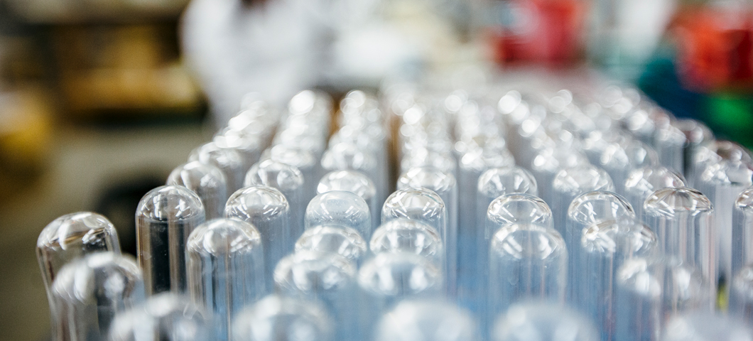 Stack of test tubes drying in the lab.