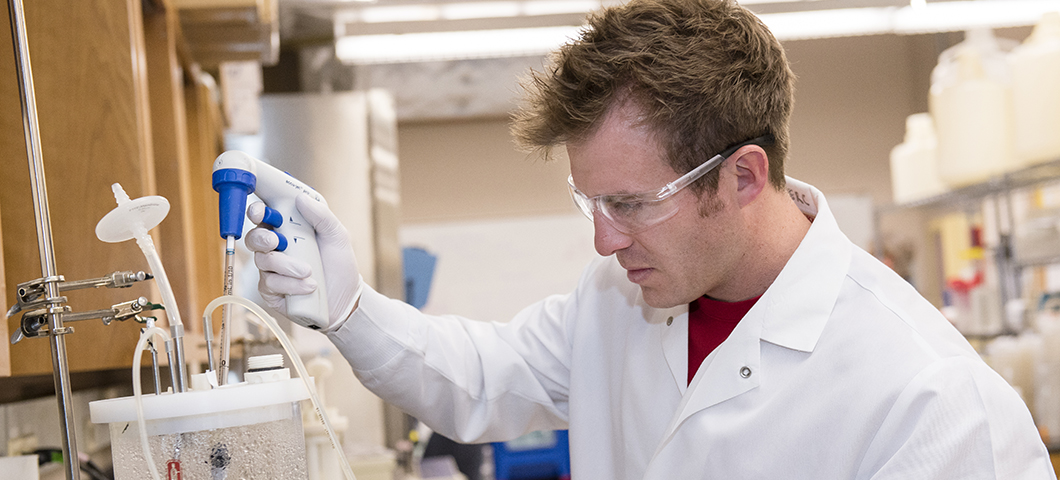 Undergraduate student working in the lab.