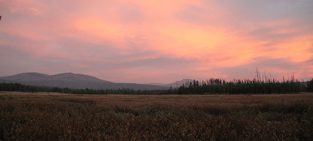 Sunset in Yellowstone National Park.